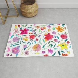 Floral vibes || watercolor Rug