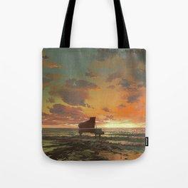 Fantasy Illustration Graphic Design Anime Japanese Inspired Landscape Beach Piano Sunset Tote Bag