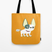 frenchie Tote Bags featuring Frenchie by Fabio Rex