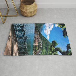 Lake Lugano lakeside path with alpine and fountain view Switzerland photograph Rug