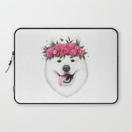 Samoyed with flowers Laptop Sleeve