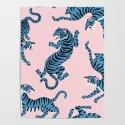 Pastel Pink & Blue Tiger Pattern by nlmiller07art