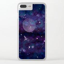 Dark Indigo Violet Sparkle Clear iPhone Case