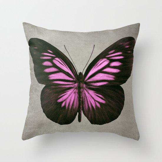 Papillon (Pink) Throw Pillow