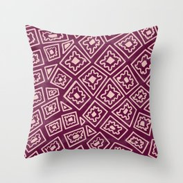Geometric style vintage color vintage purple pattern pink and purple modern pattern square shapes Throw Pillow