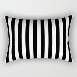 Large Black and White Cabana Stripe Rectangular Pillow