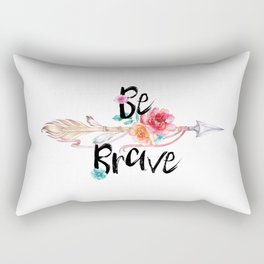 Be Brave Tribal Floral Watercolor Arrow Rectangular Pillow
