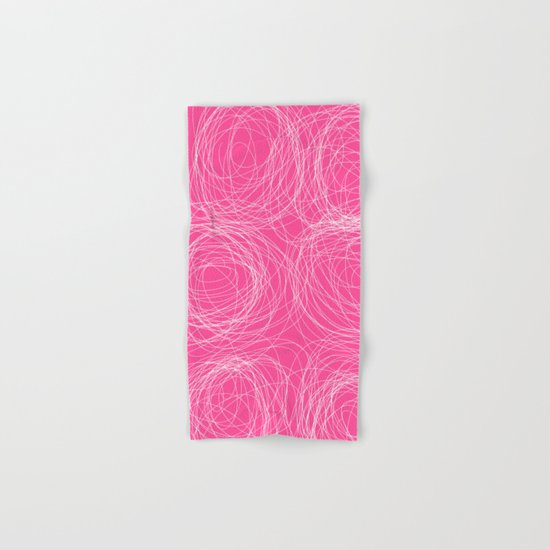 Abstract white circles and dots - abstract pattern - on pink Hand & Bath Towel