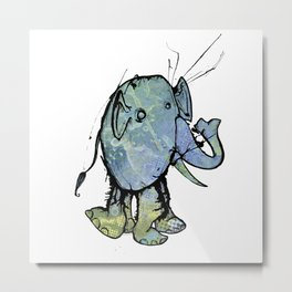 Blue Splatter Elephant Metal Print