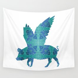 Vintage Blue Flying Pig Wall Tapestry
