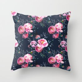 Navy and Bright Pink Floral Print Throw Pillow