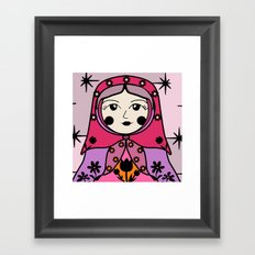 Matryoshka russian doll colorful illustration wall decor - Galina Framed Art Print
