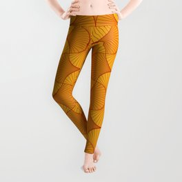 Happy Orange Retro Flowers Abstract Leggings