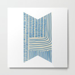 Digital Stitches thick beige + blue Metal Print