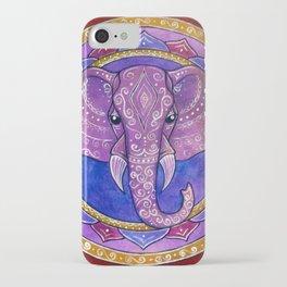 Elephant violet and red mandala iPhone Case