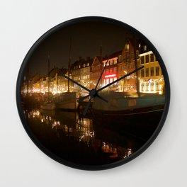 Nyhavn at night Wall Clock