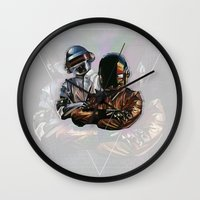daft punk Wall Clocks featuring Daft Punk by LostMind