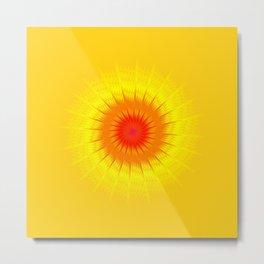 Fractal sun, fiery sun, fractal starburst. Metal Print