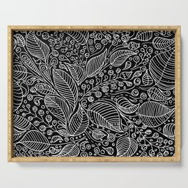 Leaves and Berries Black White Pattern Serving Tray