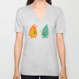 Impossible Love (fire and water kiss) Unisex V-Neck