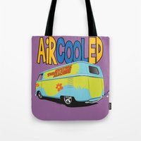 vw bus Tote Bags featuring VW Camper Drag Bus by VelocityGallery