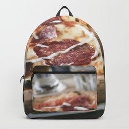 Italian salami pizza food photography Backpack