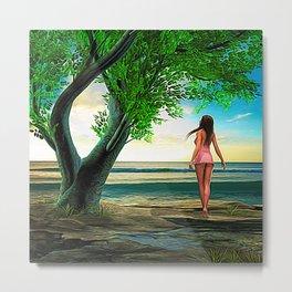 Woman at Paradise Beach Metal Print