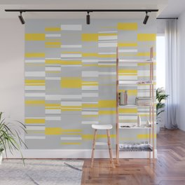 Mosaic Rectangles in Yellow Gray White #design #society6 #artprints Wall Mural