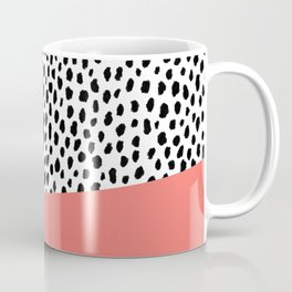Dalmatian Spots with Coral Stripe (Pantone Living Coral) Coffee Mug
