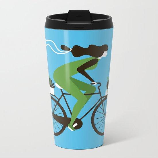 Woman on a Bicycle Metal Travel Mug