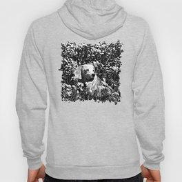 beagle dog flower field vector art black white Hoody
