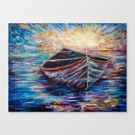 Wooden Boat at Sunrise Canvas Print