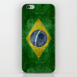 Vintage Brazilian flag with football (soccer ball) iPhone Skin
