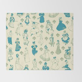 Vintage Ladies BLUE BEIGE / 18th and 19th century illustrations of women Throw Blanket