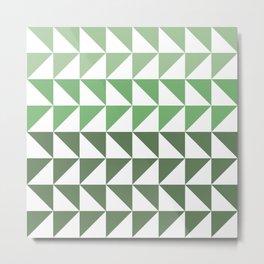 Triangle Gradient Green Metal Print