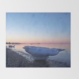 Icebergs on the Beach Throw Blanket