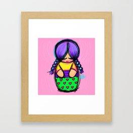 Lila Kokeshi Framed Art Print