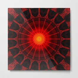 Mandala red heat Metal Print