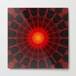 Mandala red heat Metal Print