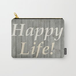 Happy Life Letters Shabby Style Poster Carry-All Pouch