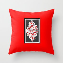 Red and Gray Diamond Knot Throw Pillow