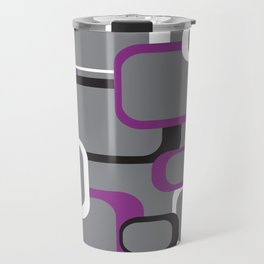 Violet Purple White Black Retro Square Pattern Gray Travel Mug