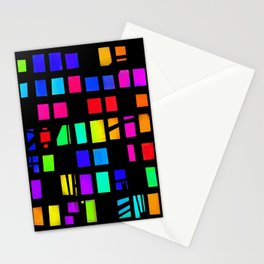 Rainbow Pixel in darck Stationery Cards