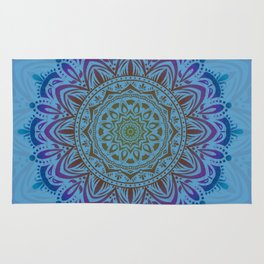 Multicolor New Age Zen Yoga Lover Intricate Muted Mandala Spiral Rug