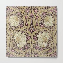 William Morris Pimpernel Orchid & Violets Floral Textile Pattern Metal Print