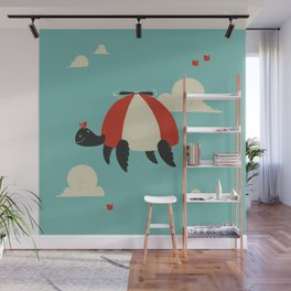 Turtle Hat Flies in the Sky Wall Mural