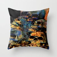 skulls Throw Pillows featuring Skulls By Annie Zeno by Annie Zeno