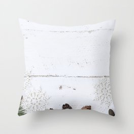 Winter Photography - Tree Cones And Snow Crystals Throw Pillow