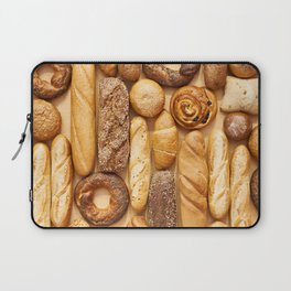 Bread baking rolls and croissants background Laptop Sleeve