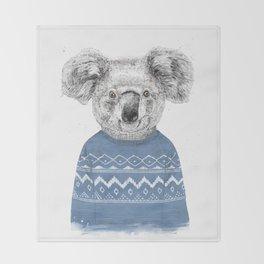Winter koala Throw Blanket